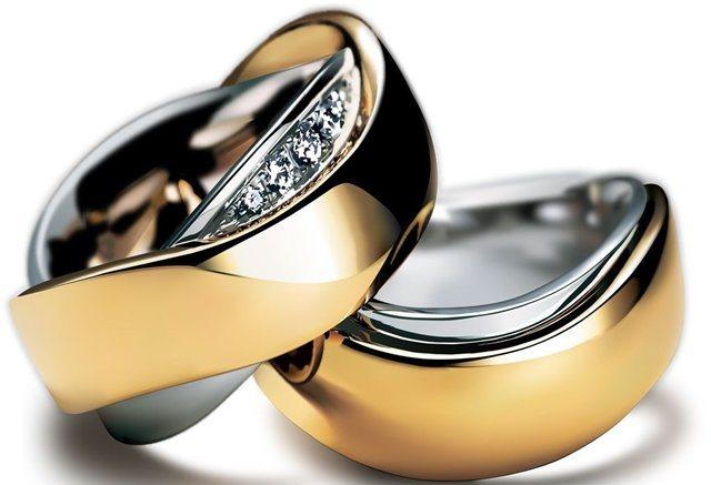Обручальные парные кольца из двух металлов с бриллиантами