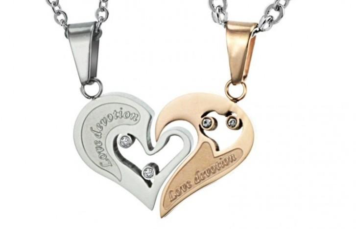 Парный кулон для влюбленных - сердце