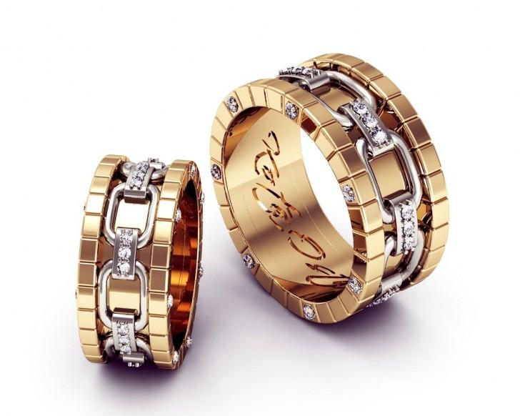 Парные обручальные кольца из двух видов золота