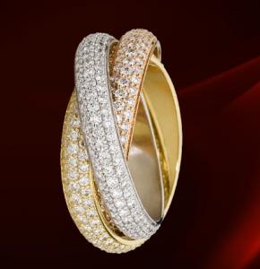 Кольцо Картье Тринити с бриллиантами